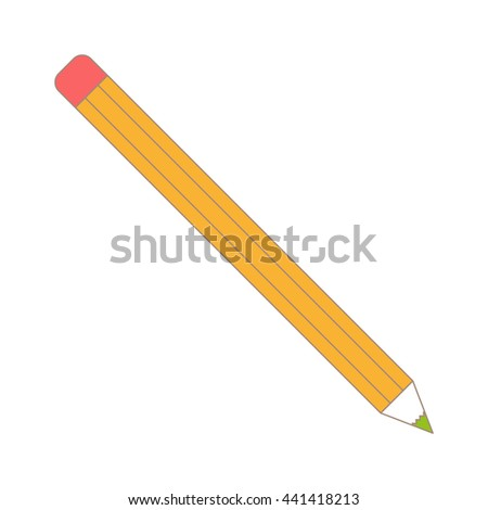 Vector illustration of sharpened detailed pencil isolated on white background. Pencil yellow equipment draw office tool. Education icon symbol simple pen wood work pencil tool. Yellow pencil. - stock vector