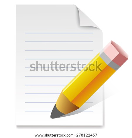 Vector illustration of sharpened fat yellow pencil with paper - stock vector