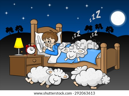 vector illustration of sheep fall asleep on the bed of a sleepless man - stock vector
