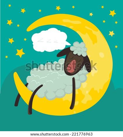 vector illustration of sheep sleeping on the moon - stock vector