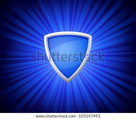 vector illustration of shield on blue rays background - stock vector