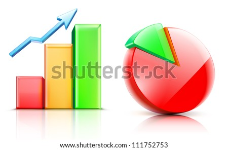 Vector illustration of shiny bar and pie chart - stock vector