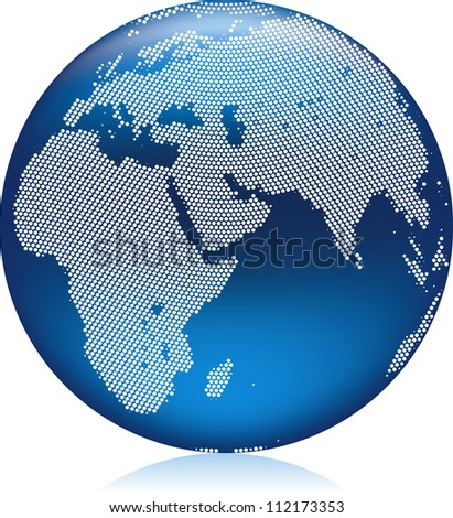 Vector illustration of shiny blue Earth globe with round pattern dots, northern hemisphere - stock vector