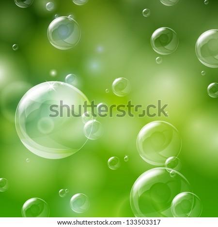 Vector Illustration of Shiny Bubbles - stock vector