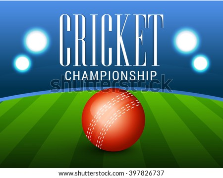 Vector illustration of shiny cricket ball of different participating cricket countries with stadium background. - stock vector