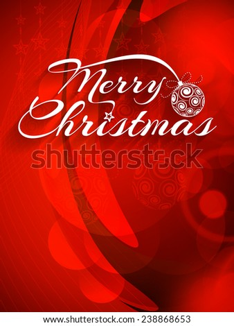 Vector illustration of shiny red color Merry Christmas greeting card.  - stock vector