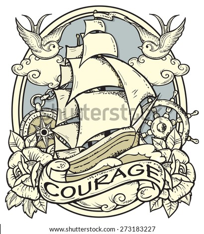 Vector illustration of ship and sailor atributes.Tattoo-art design. Neo traditional tattoo style. Hand-drawn vector image. Good for printing on T-shirt. EPS8 file/Easy to edit. - stock vector
