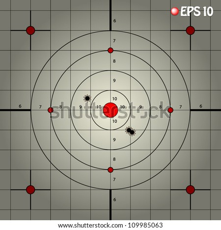 vector illustration of shooting target with vignette - stock vector