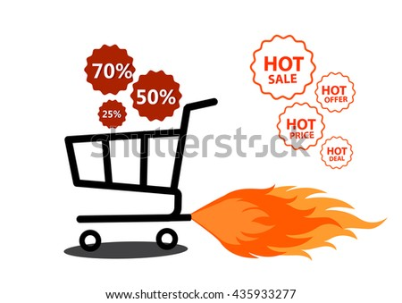Vector illustration of shopping cart with flame. Fire labels set. Hot Sale, offer, deal, price stickers for business promotion. - stock vector