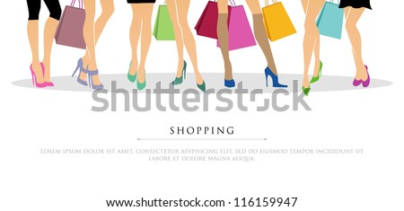 Vector illustration of Shopping girls - stock vector