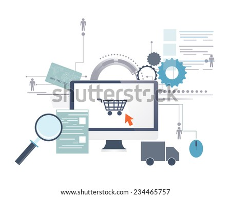 Vector illustration of shopping online with graphic icons - stock vector