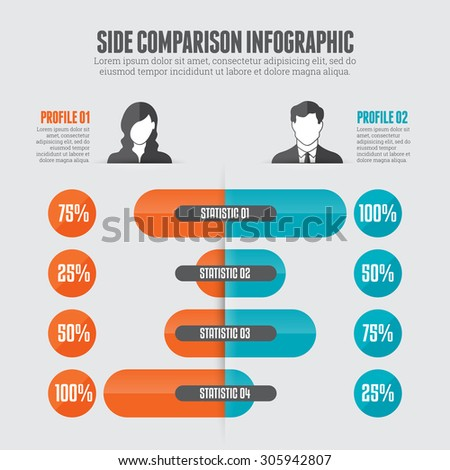 Vector illustration of side comparison infographic design element. - stock vector