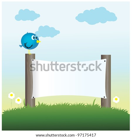vector illustration of sign with bird on it - stock vector