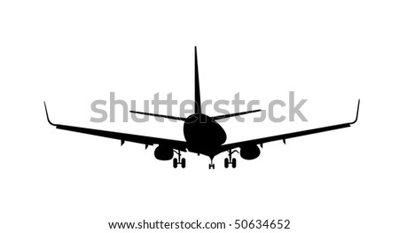 Vector illustration of silhouette aircraft is isolated on white background - stock vector