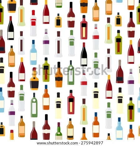 Vector Illustration of Silhouette Alcohol Bottle Seamless Pattern Background EPS10 - stock vector
