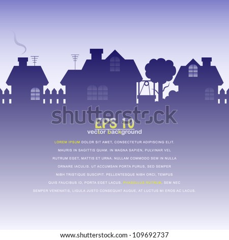 vector illustration of silhouette of a village at dawn - stock vector