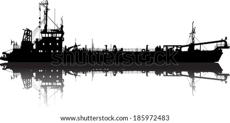 Vector illustration of silhouette of the sea ship - stock vector