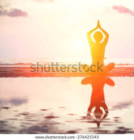 Vector illustration of Silhouette of yoga woman on sea sunset, In bright colors. - stock vector