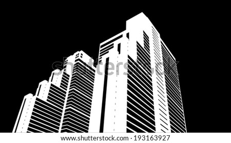 Vector illustration of silhouette urban city - stock vector