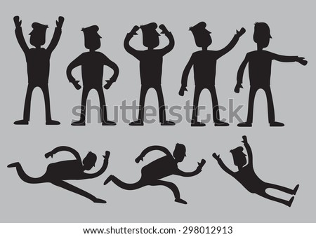 Vector illustration of silhouettes of cartoon man characters in black with different animated gestures isolated against plain grey background. - stock vector