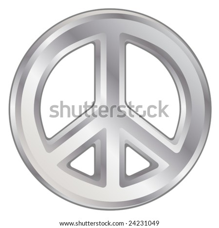 Vector illustration of silver dimensional peace sign. - stock vector