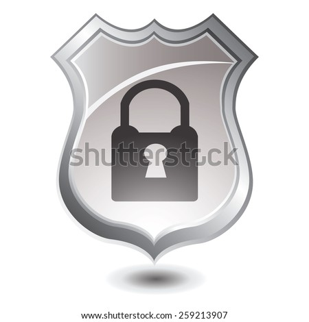 Vector illustration of silver shield : Padlock security concept.  - stock vector