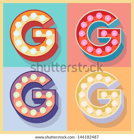 Vector illustration of simple and clear flat lamp alphabet. Letter g - stock vector