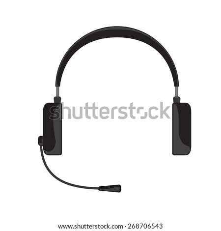 Vector illustration of simple black gray headphones with microphone on white background - stock vector