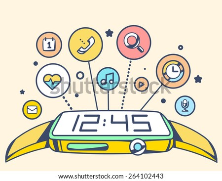 Vector illustration of simple smart watch with button and applications on light background. Retro color hand draw line art design for web, site, advertising, banner, poster, board and print. - stock vector