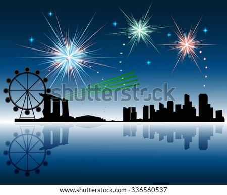Vector illustration of Singapore skyline in blue background  - stock vector