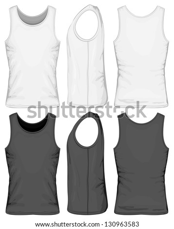 Vector illustration of singlet (front, side, back view) - stock vector