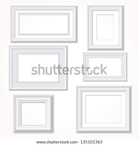 vector illustration of six empty white frames on white wall - stock vector