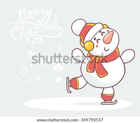 Vector illustration of skating white snowman with red scarf on gray background with text.Hand draw line art design for poster,flyer,brochure,greeting card,web,site,banner,board,postcard,paper print - stock vector