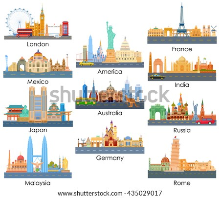 vector illustration of skyline of famous building of important city around the world - stock vector