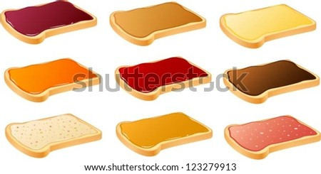 Vector illustration of slices of white bread with various bread spreads. - stock vector