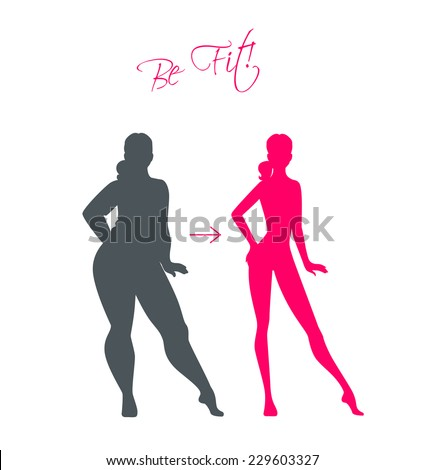 Vector illustration of Slim and fat girls - stock vector