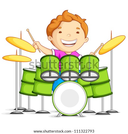 vector illustration of small boy playing drums - stock vector