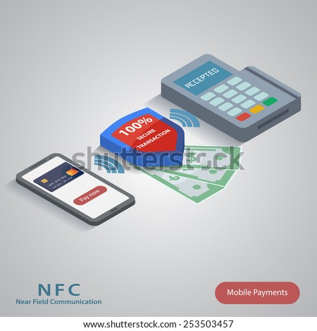Vector illustration of smartphone with nfc function and mobile tag - stock vector