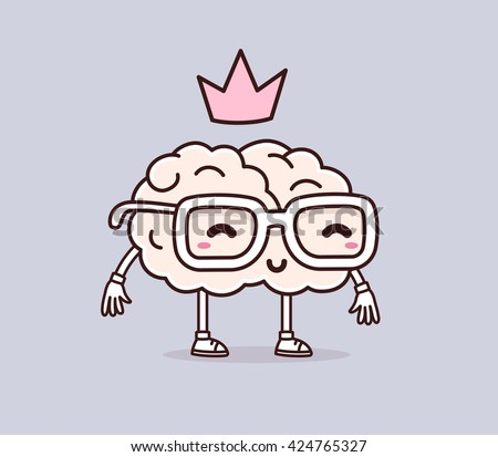 Vector illustration of smile brain with glasses and pink crown on gray background. Creative cartoon brain concept. Doodle style. Thin line art flat design of character brain for science, education - stock vector