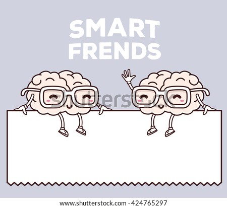 Vector illustration of smile smart friends with glasses sitting on white blank sign on gray background. Creative cartoon brain concept. Doodle style. Thin line art flat design of brain for brainstorm - stock vector