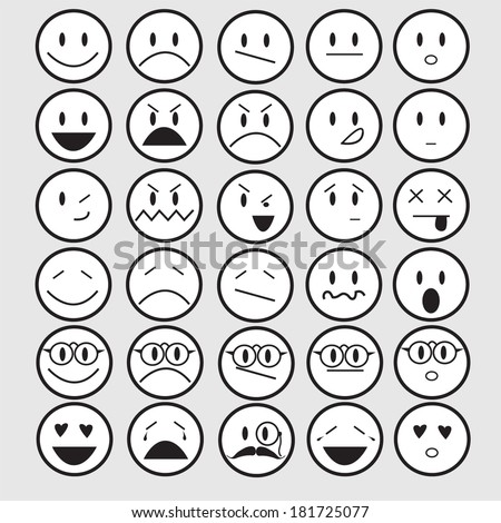 vector illustration of smiley faces emotions - stock vector