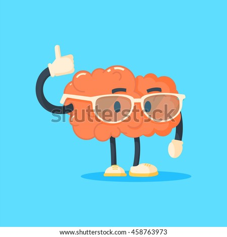 Vector illustration of smiling brain with glasses who lifts his thump up, on blue background. Thumb up brain concept. - stock vector