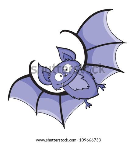 Vector illustration of smiling cute cartoon bat - stock vector