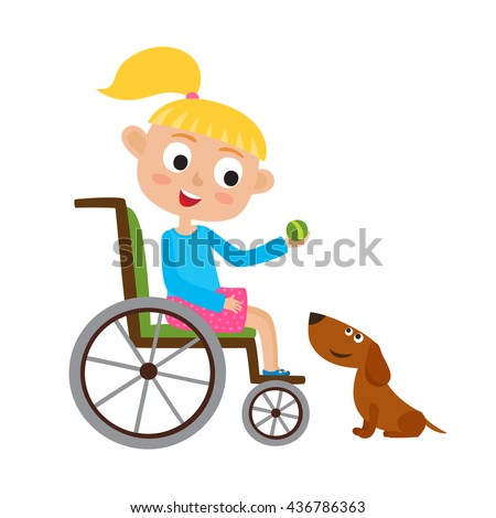 Vector illustration of smiling little blondy girl with ball on a wheelchair playing with dog isolated on white. Cartoon  happy disabled girl playing with an cute dog. - stock vector