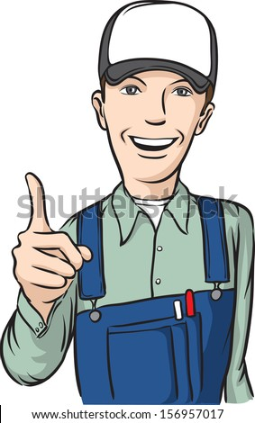 Vector illustration of smiling repairman hand sign. Easy-edit layered vector EPS10 file scalable to any size without quality loss. High resolution raster JPG file is included. - stock vector