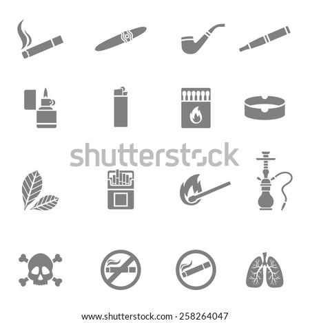 Vector illustration of smoking silhouette icons set - stock vector