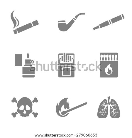 Vector illustration of smoking silhouette icons set. 9 elements - stock vector