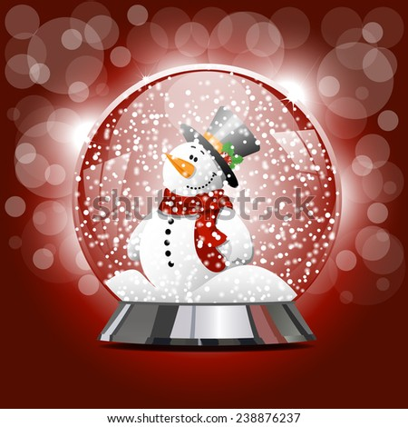 Vector illustration of snow ball with a snowman and snow. New Year's ball with Christmas snowman with snowflakes - stock vector
