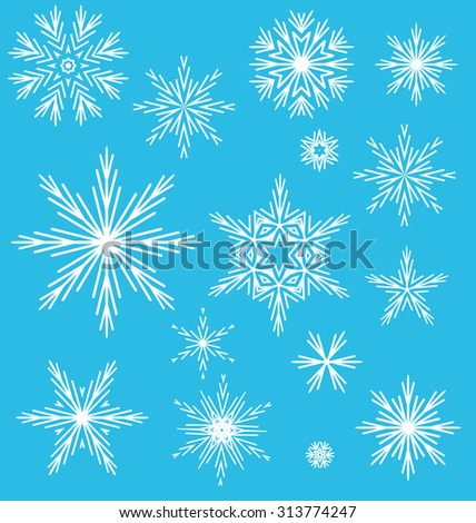 Vector illustration of snow flakes by different - stock vector