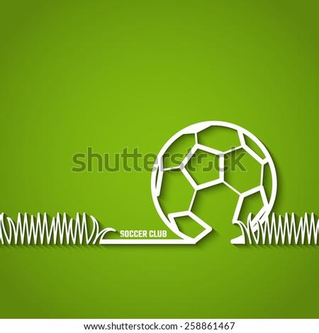 Vector Illustration of Soccer Outline Backdrop with Stadium Grass for Design, Website, Background, Banner. Silhouette  Ball Element Template for Team  - stock vector
